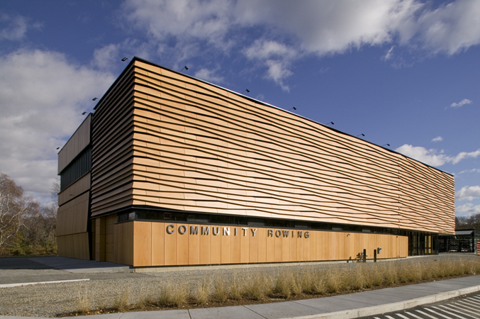 custom designed Prodema panel facade - EXTECH's custom designed facade for the Harry Parker Boathouse in Brighton, MA