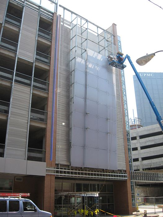 custom facade - a custom polycarbonate wall by EXTECH at the Greyhound Station in Pittsburgh, PA