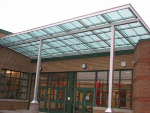 entrance canopy - EXTECH's SKYSHADE 3100 at Slippery Rock Area High School in Slippery Rock, PA