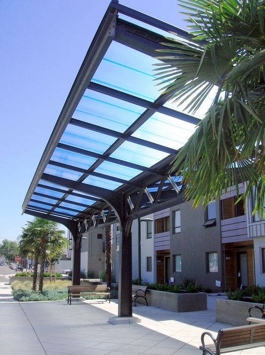 polycarbonate canopies - EXTECH's SKYSHADE 3100 at the Wood Street Pocket Park in Oakland, CA