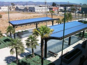 standing seam canopy - EXTECH's SKYSHADE 3100 at the Wood Street Pocket Park in Oakland, CA