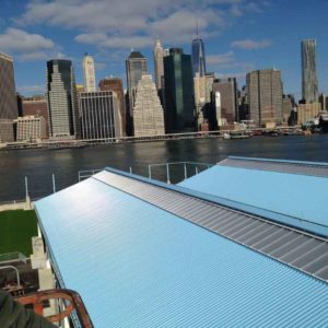 canopy system - EXTECH's SKYSHADE 3100 at Brooklyn Bridge Park in Brooklyn, NY