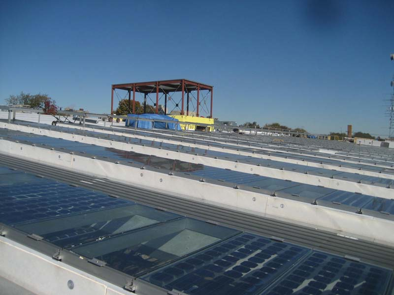 industrial daylighting with solar panels - EXTECH's SKYGARD at Remsen Yard in Brooklyn, NY