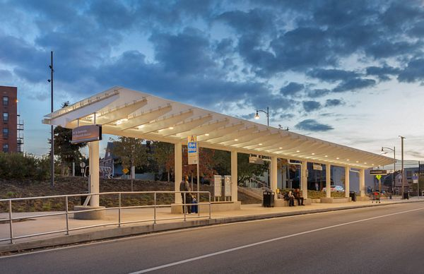 durable transit canopy - EXTECH's SKYSHADE for the East Liberty Bud Stop