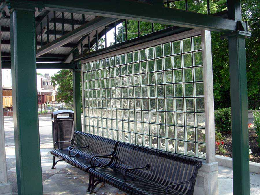 transit mortarless glass block wall system - EXTECH's GRIDLOCK