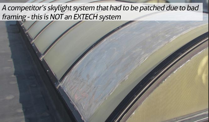 A competitor's skylight system with framing that is failing