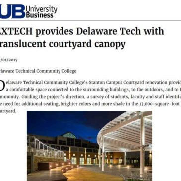 Delaware Technical College and EXTECH's SKYSHADE 3300 featured in University Business