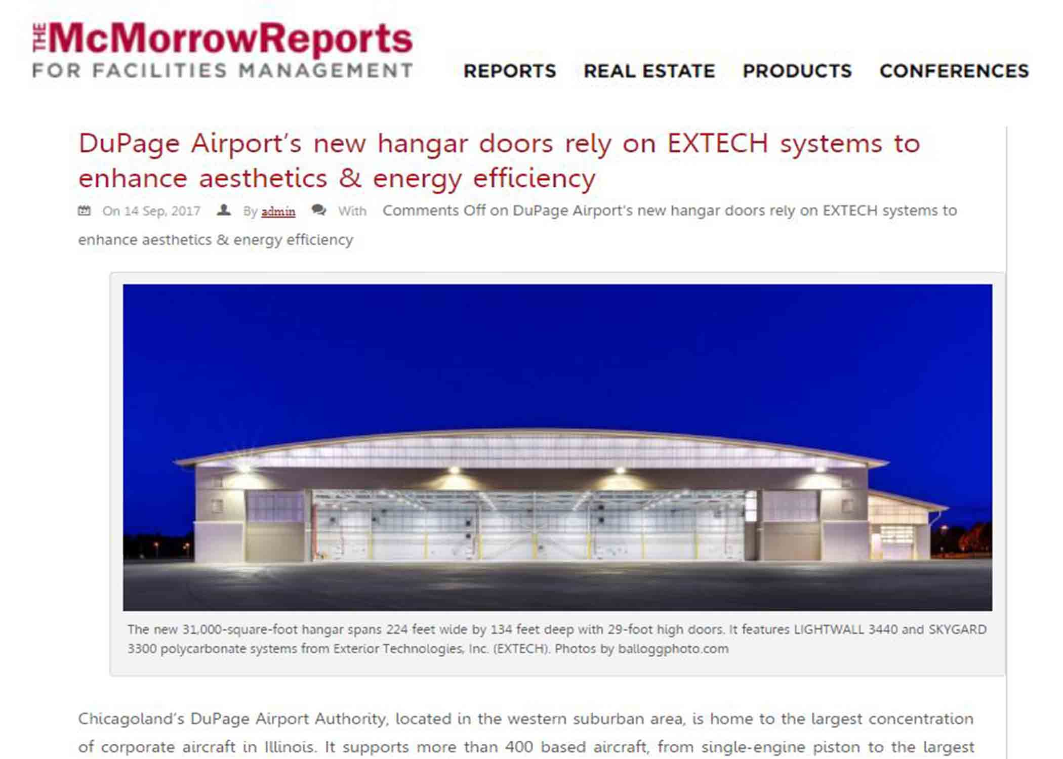 EXTECH's work at DuPage Airport is featured in the McMorrow Reports