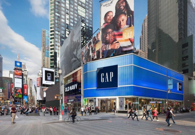 blue polycarbonate wall panels - EXTECH's LIGHTWALL 3440 for Gap in Times Square, NYC