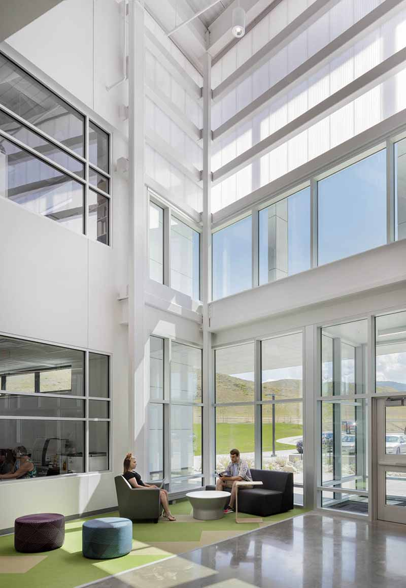 LIGHTWALL 3440 translucent polycarbonate wall - EXTECH's LIGHTWALL 3440 is used for daylighting and healthy school environment at the Pathways Innovation Center in Casper, WY